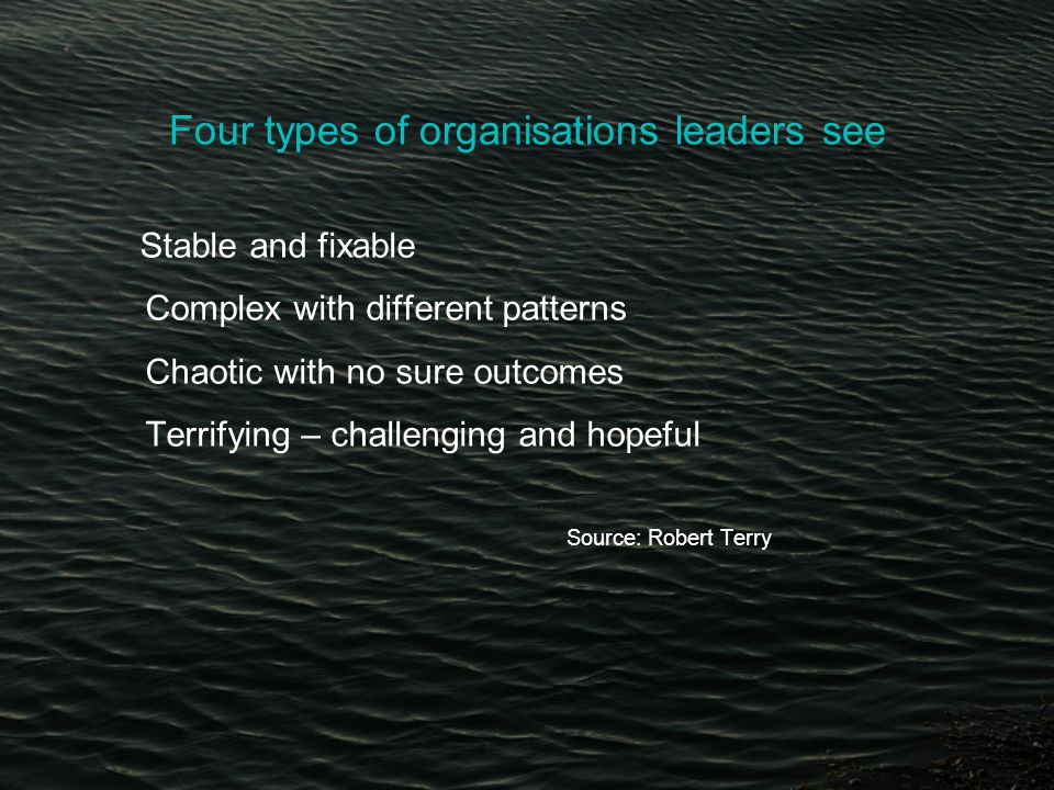 Four types of organisations leaders see Stable and fixable Complex with different patterns Chaotic with no sure outcomes Terrifying – challenging and hopeful Source: Robert Terry