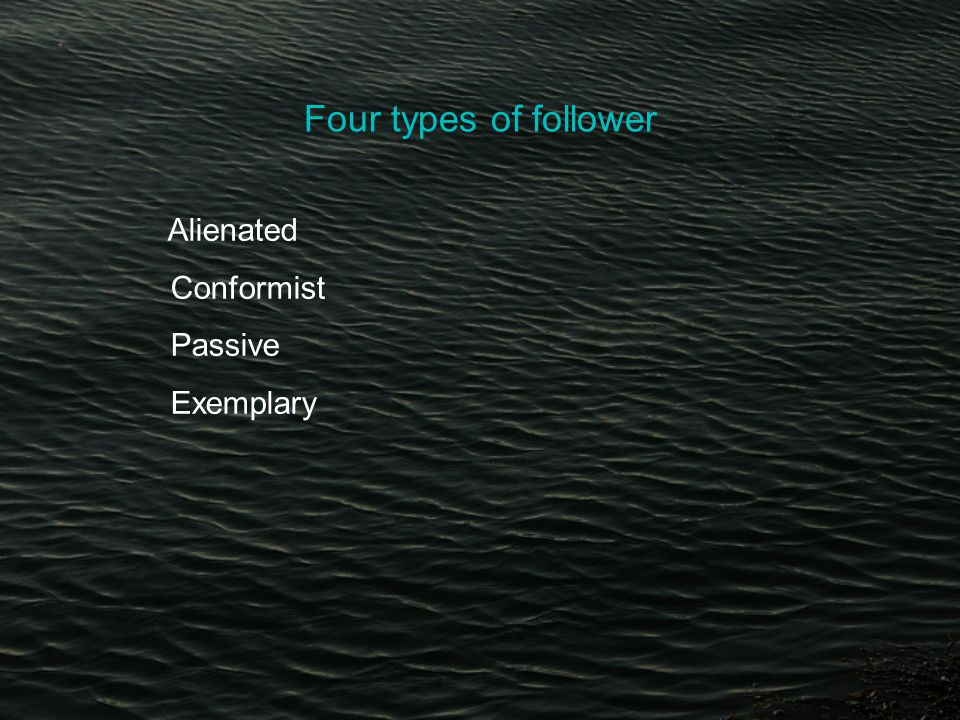 Four types of follower Alienated Conformist Passive Exemplary