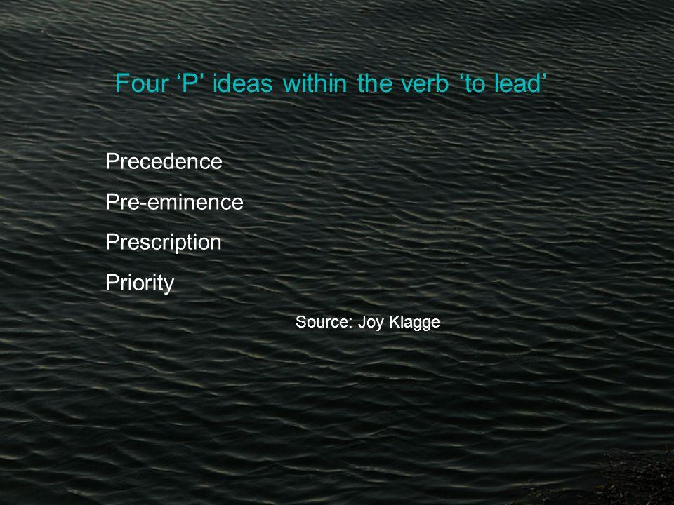 Four 'P' ideas within the verb 'to lead' Precedence Pre-eminence Prescription Priority Source: Joy Klagge