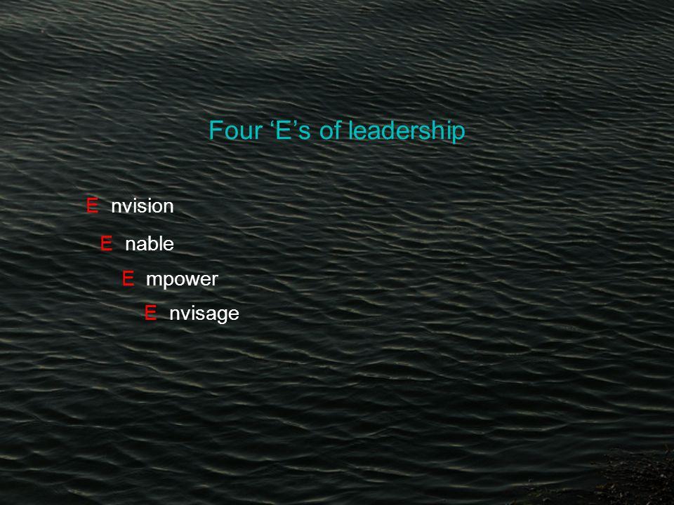 Four 'E's of leadership E nvision E nable E mpower E nvisage