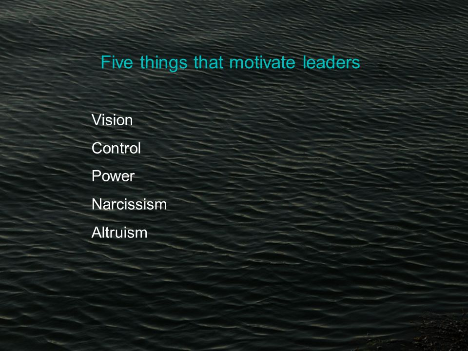 Five things that motivate leaders Vision Control Power Narcissism Altruism