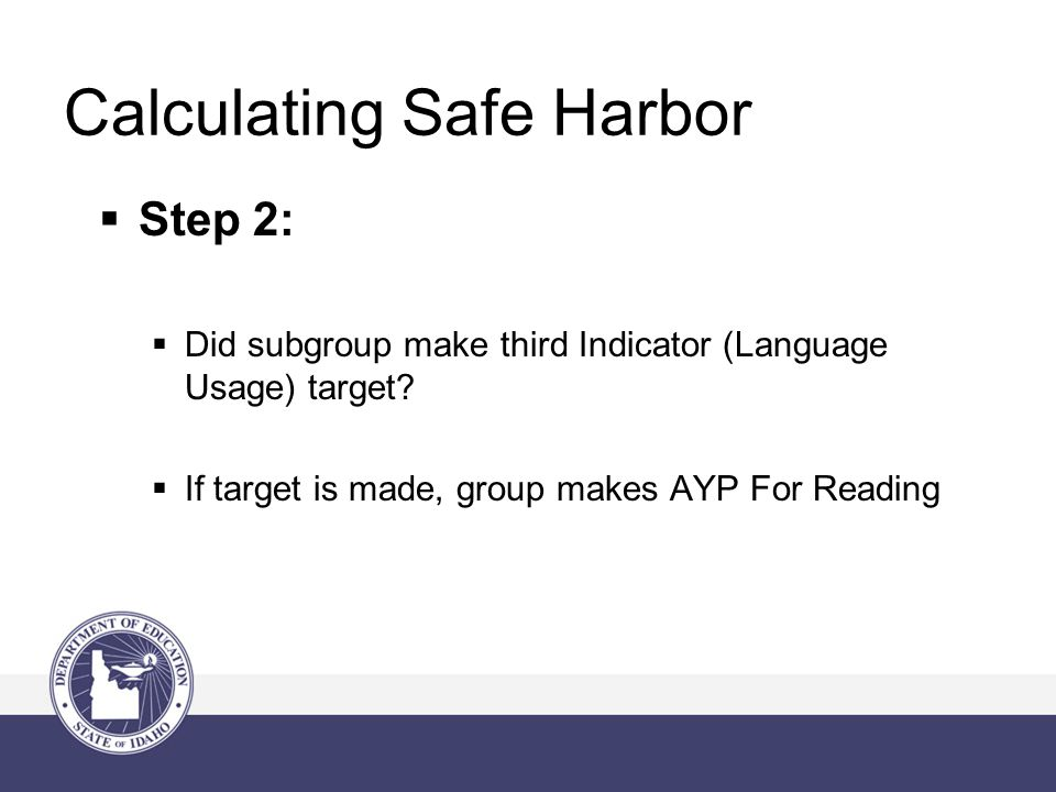 Calculating Safe Harbor  Step 2:  Did subgroup make third Indicator (Language Usage) target.