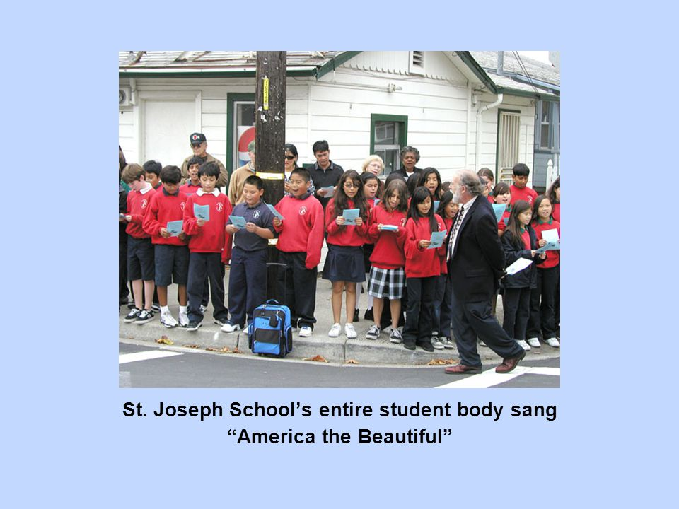 "St. Joseph School's entire student body sang ""America the Beautiful"""