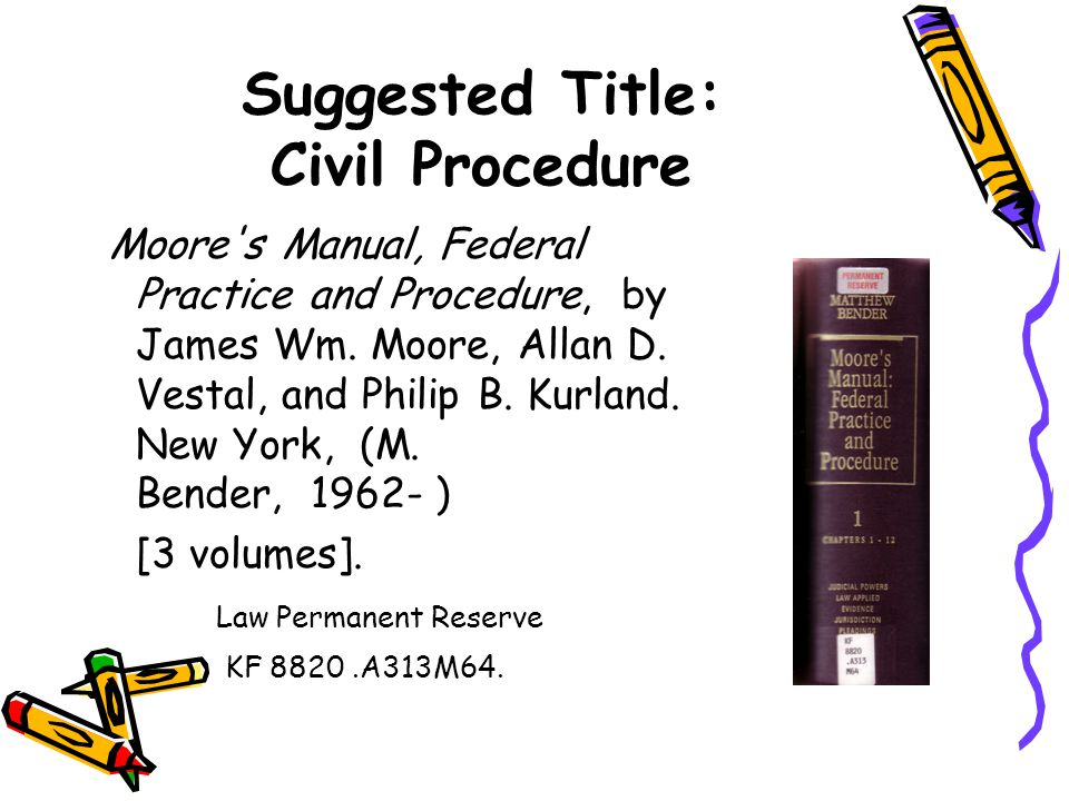 Suggested Title: Civil Procedure Moore s Manual, Federal Practice and Procedure, by James Wm.