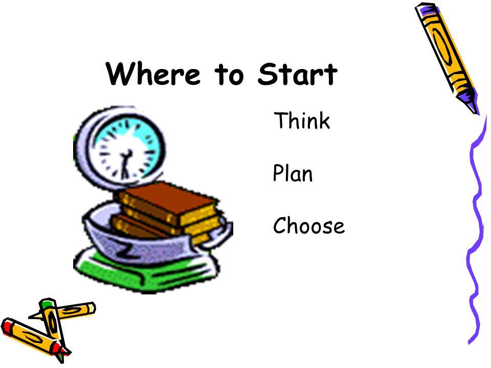 Where to Start Think Plan Choose