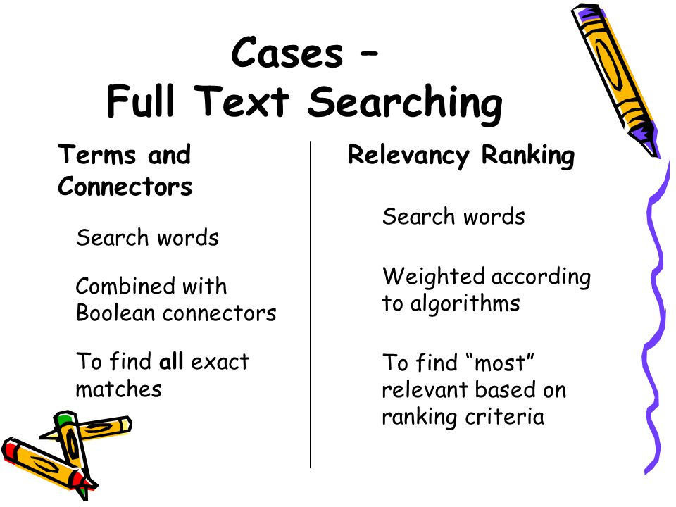 "Cases – Full Text Searching Relevancy Ranking Search words Weighted according to algorithms To find ""most"" relevant based on ranking criteria Terms an"