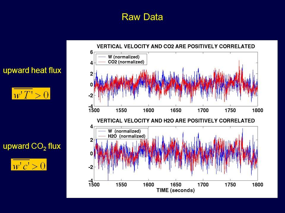 Raw Data upward heat flux upward CO 2 flux