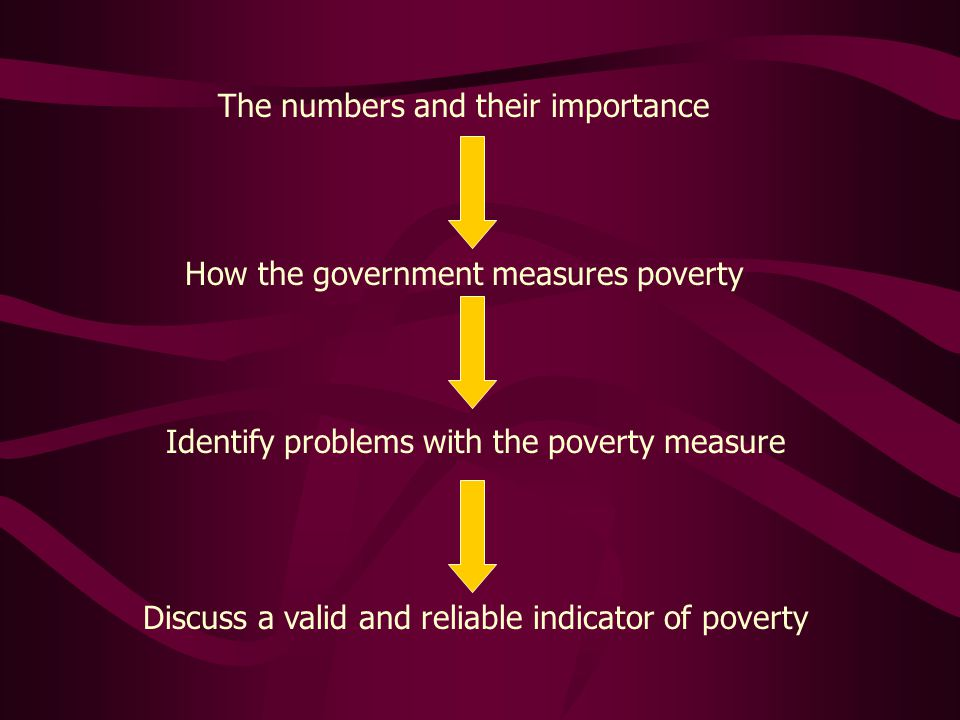 The numbers and their importance How the government measures poverty Identify problems with the poverty measure Discuss a valid and reliable indicator of poverty