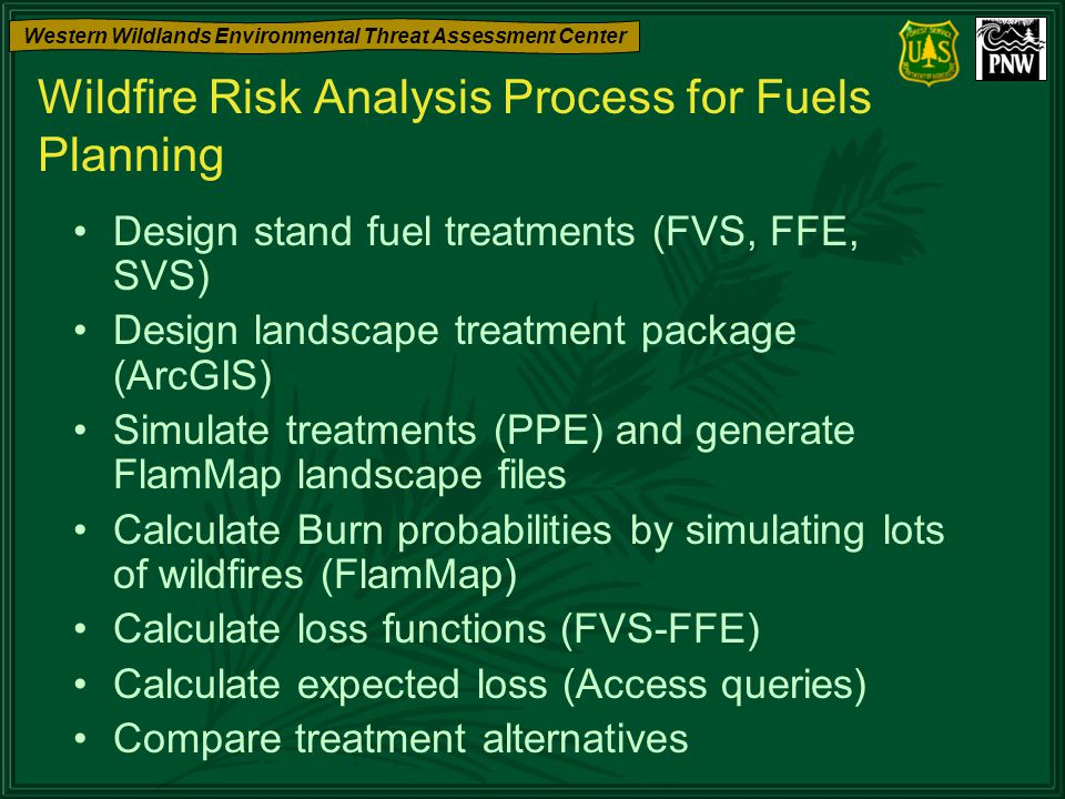 Western Wildlands Environmental Threat Assessment Center Wildfire Risk Analysis Process for Fuels Planning Design stand fuel treatments (FVS, FFE, SVS