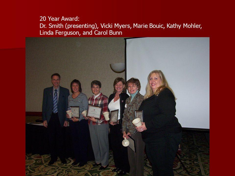 20 Year Award: Dr. Smith (presenting), Vicki Myers, Marie Bouic, Kathy Mohler, Linda Ferguson, and Carol Bunn