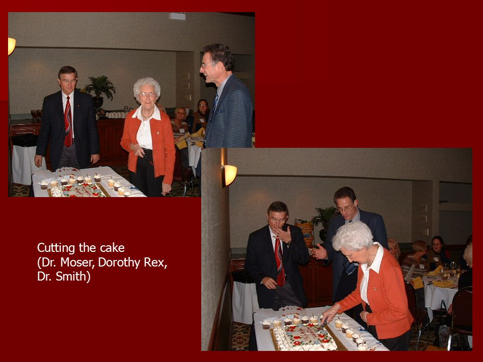Cutting the cake (Dr. Moser, Dorothy Rex, Dr. Smith)