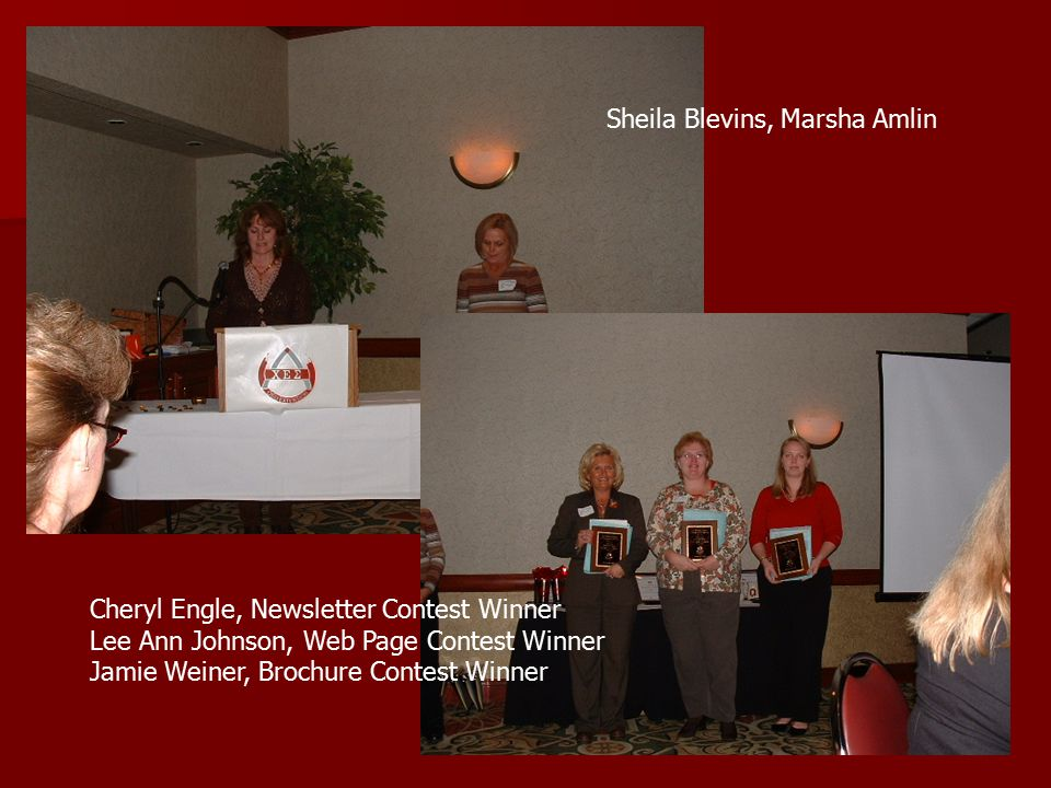 Sheila Blevins, Marsha Amlin Cheryl Engle, Newsletter Contest Winner Lee Ann Johnson, Web Page Contest Winner Jamie Weiner, Brochure Contest Winner