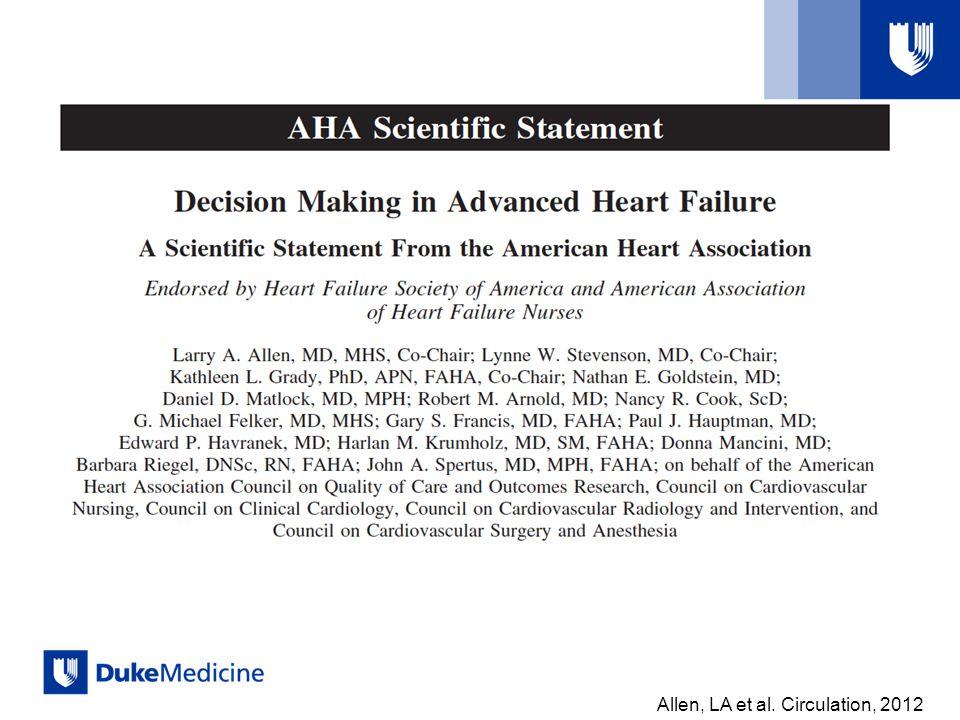 Allen, LA et al. Circulation, 2012