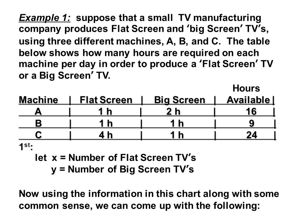 Example 1: suppose that a small TV manufacturing company produces Flat Screen and 'big Screen' TV's, using three different machines, A, B, and C.
