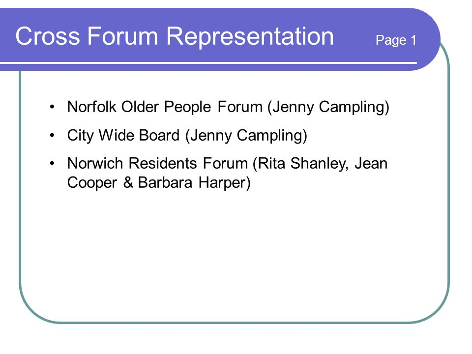 Cross Forum Representation Page 1 Norfolk Older People Forum (Jenny Campling) City Wide Board (Jenny Campling) Norwich Residents Forum (Rita Shanley, Jean Cooper & Barbara Harper)
