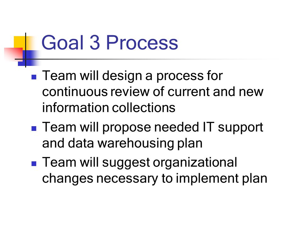 Goal 3 Process Team will design a process for continuous review of current and new information collections Team will propose needed IT support and data warehousing plan Team will suggest organizational changes necessary to implement plan