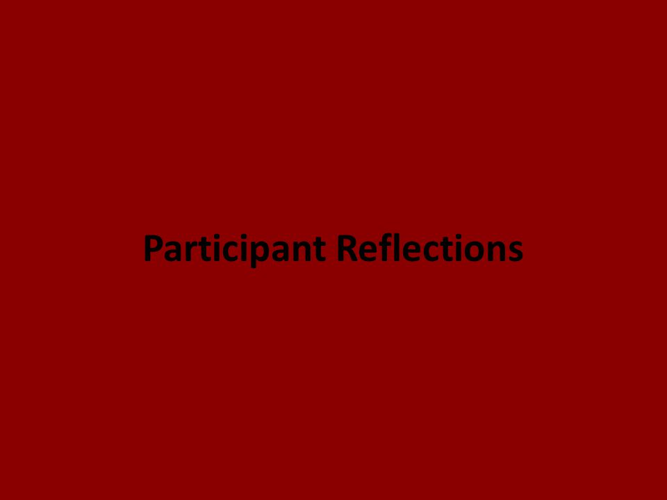 Participant Reflections