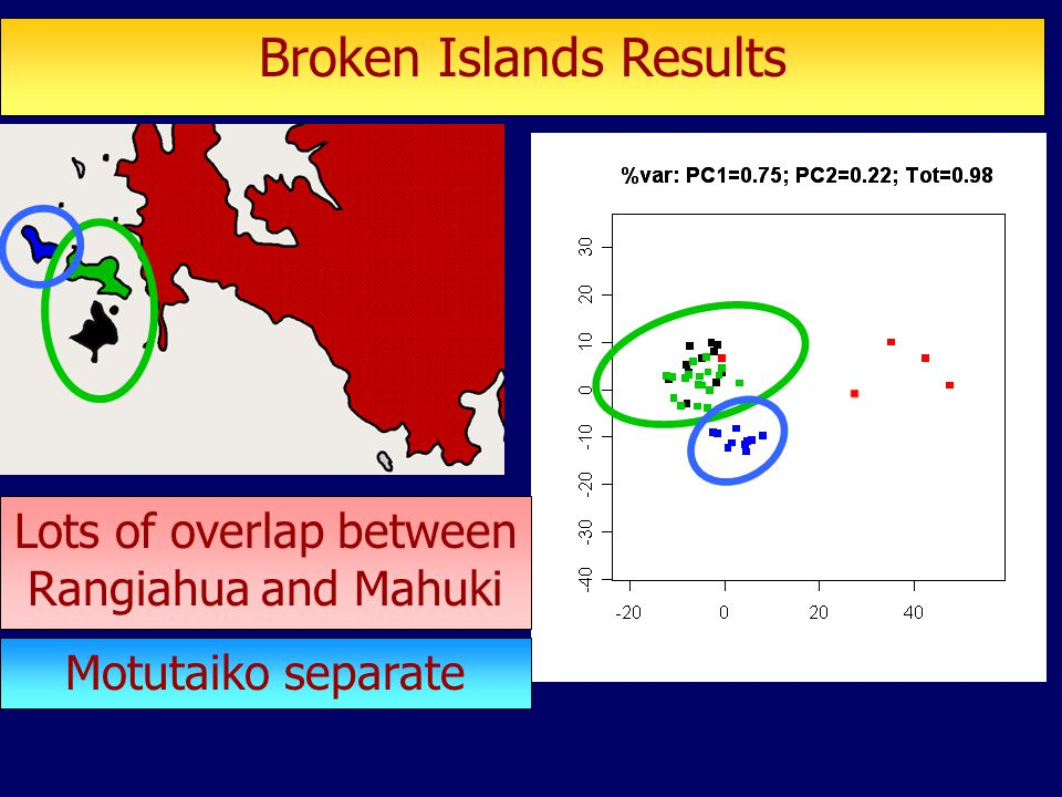 Broken Islands Results Lots of overlap between Rangiahua and Mahuki Motutaiko separate