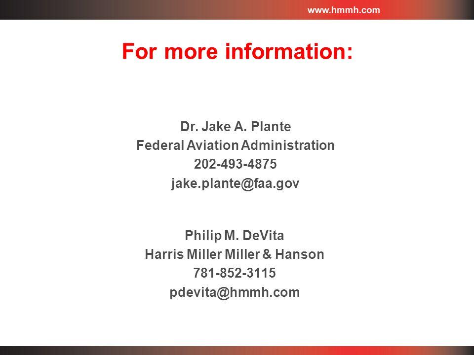 Philip M. DeVita Harris Miller Miller & Hanson 781-852-3115 pdevita@hmmh.com Dr.