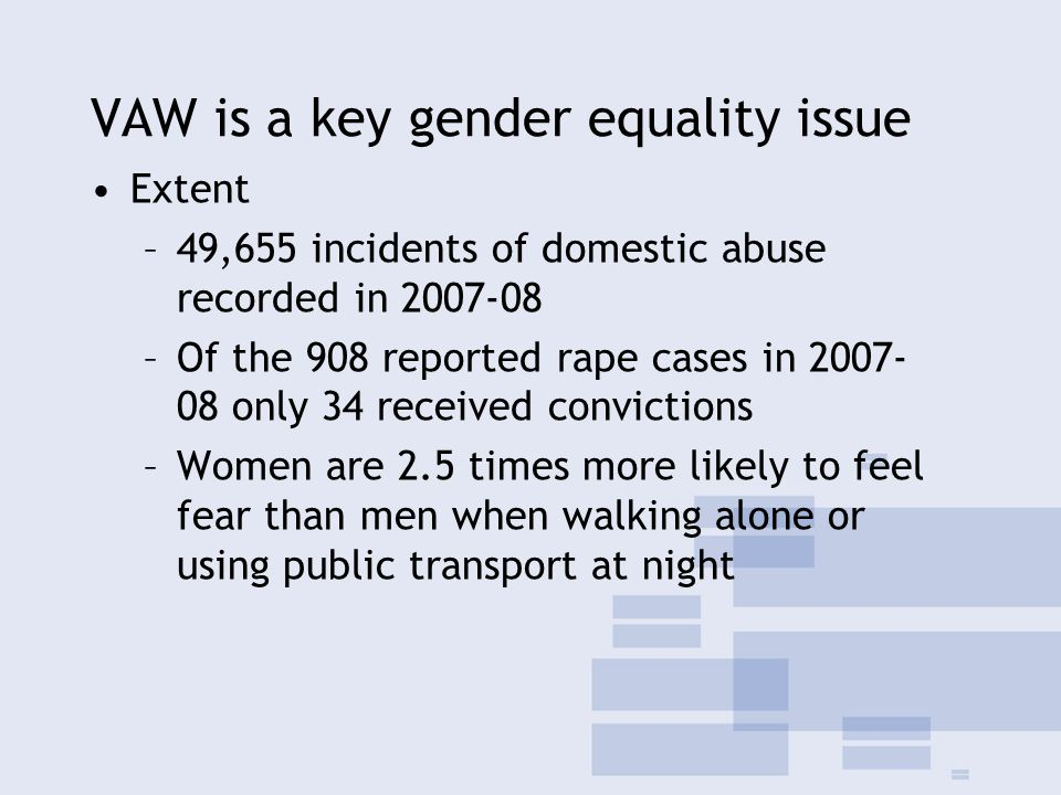 VAW is a key gender equality issue Extent –49,655 incidents of domestic abuse recorded in 2007-08 –Of the 908 reported rape cases in 2007- 08 only 34 received convictions –Women are 2.5 times more likely to feel fear than men when walking alone or using public transport at night