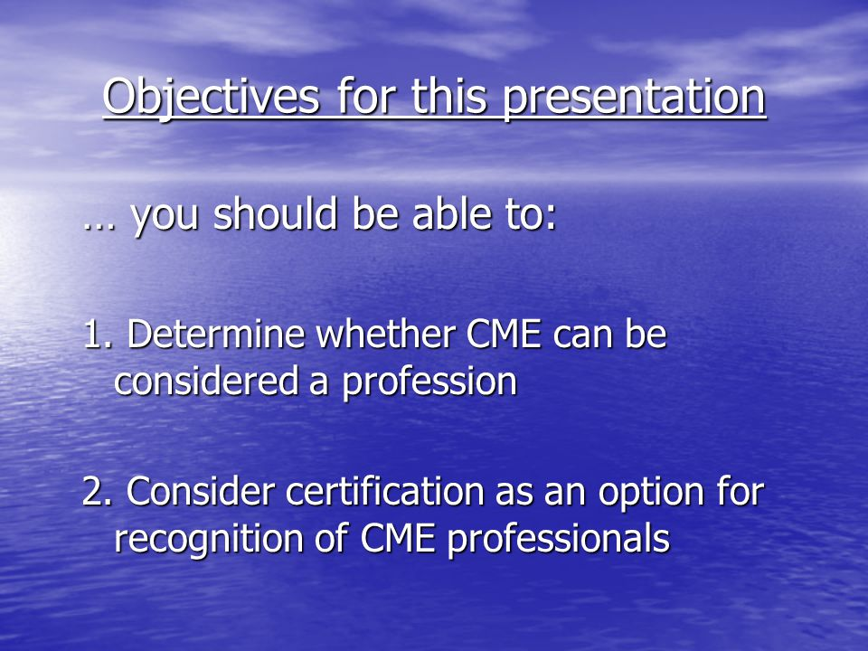 Does CME Qualify as a Profession.
