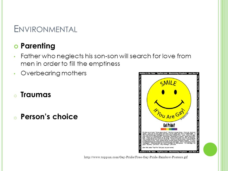 E NVIRONMENTAL Parenting Father who neglects his son-son will search for love from men in order to fill the emptiness Overbearing mothers o Traumas o Person's choice http://www.toppun.com/Gay-Pride/Free-Gay-Pride-Rainbow-Posters.gif