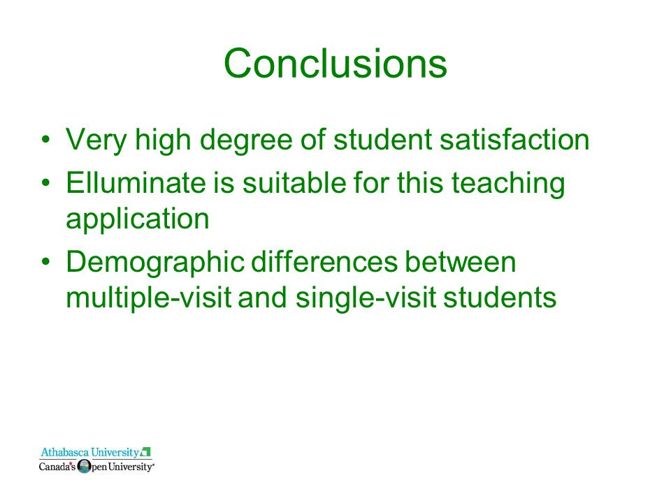 Conclusions Very high degree of student satisfaction Elluminate is suitable for this teaching application Demographic differences between multiple-visit and single-visit students