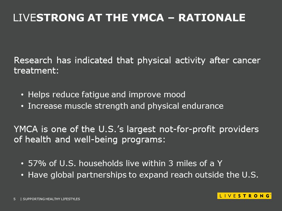 LIVESTRONG AT THE YMCA – RATIONALE 5| SUPPORTING HEALTHY LIFESTYLES Research has indicated that physical activity after cancer treatment: Helps reduce fatigue and improve mood Increase muscle strength and physical endurance YMCA is one of the U.S.'s largest not-for-profit providers of health and well-being programs: 57% of U.S.