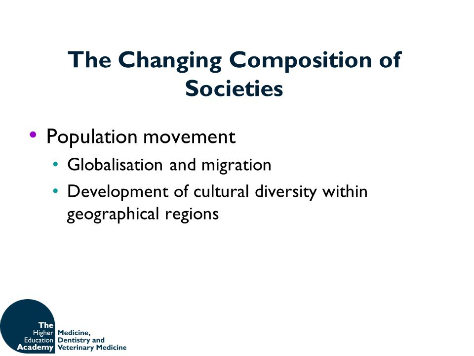 The Changing Composition of Societies Population movement Globalisation and migration Development of cultural diversity within geographical regions