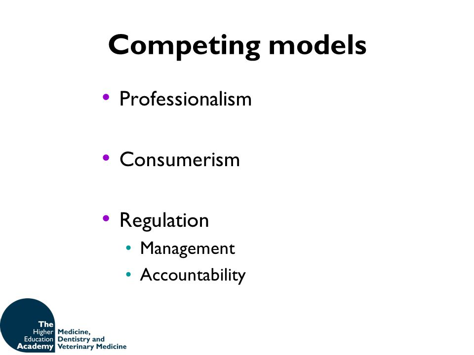 Competing models Professionalism Consumerism Regulation Management Accountability