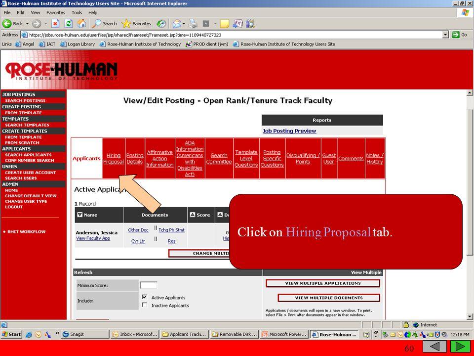 Click on Hiring Proposal tab. 60