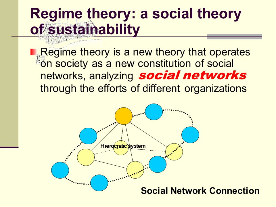 Regime theory is a new theory that operates on society as a new constitution of social networks, analyzing social networks through the efforts of different organizations Hierocratic system Social Network Connection Regime theory: a social theory of sustainability