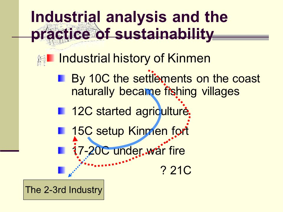Industrial analysis and the practice of sustainability Industrial history of Kinmen By 10C the settlements on the coast naturally became fishing villages 12C started agriculture 15C setup Kinmen fort 17-20C under war fire .