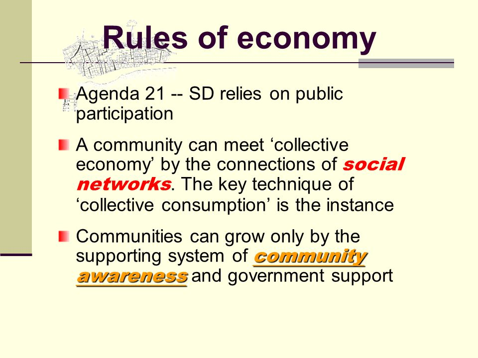 Agenda 21 -- SD relies on public participation A community can meet 'collective economy' by the connections of social networks.