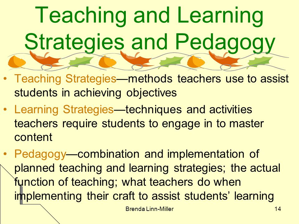 Brenda Linn-Miller14 Teaching and Learning Strategies and Pedagogy Teaching Strategies—methods teachers use to assist students in achieving objectives Learning Strategies—techniques and activities teachers require students to engage in to master content Pedagogy—combination and implementation of planned teaching and learning strategies; the actual function of teaching; what teachers do when implementing their craft to assist students' learning