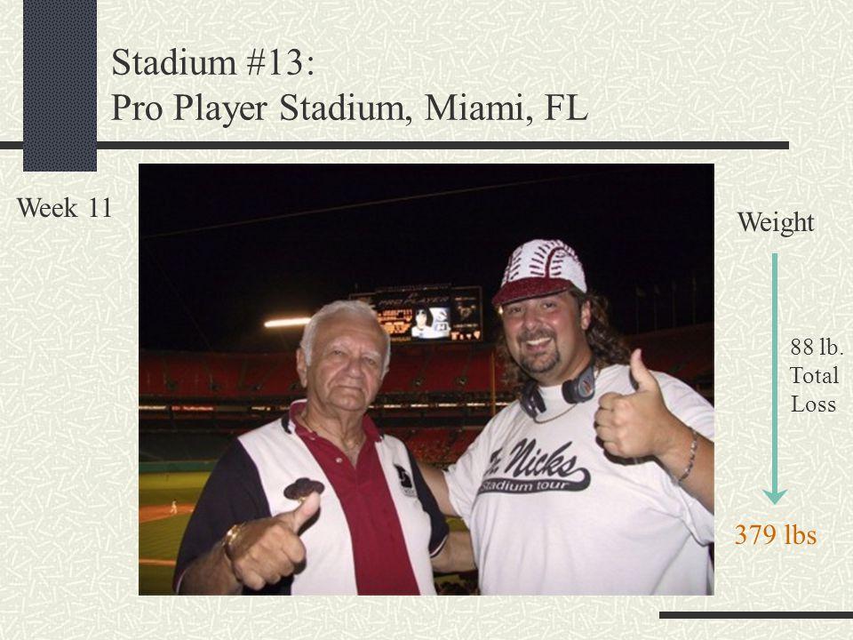 Stadium #13: Pro Player Stadium, Miami, FL Week 11 Weight 88 lb. Total Loss 379 lbs
