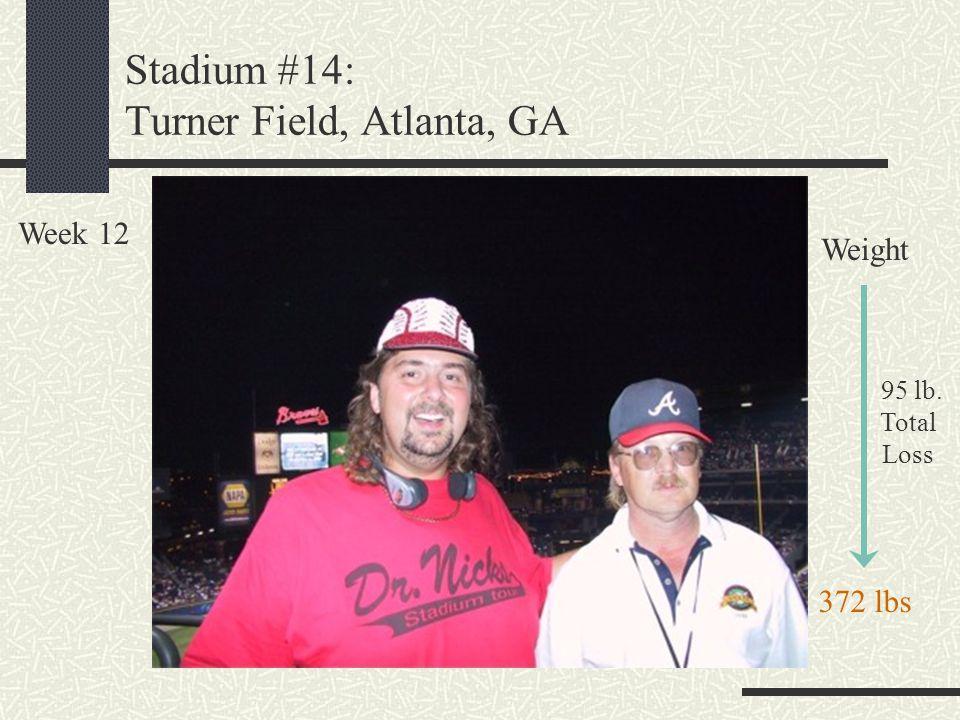 Stadium #14: Turner Field, Atlanta, GA Week 12 Weight 95 lb. Total Loss 372 lbs