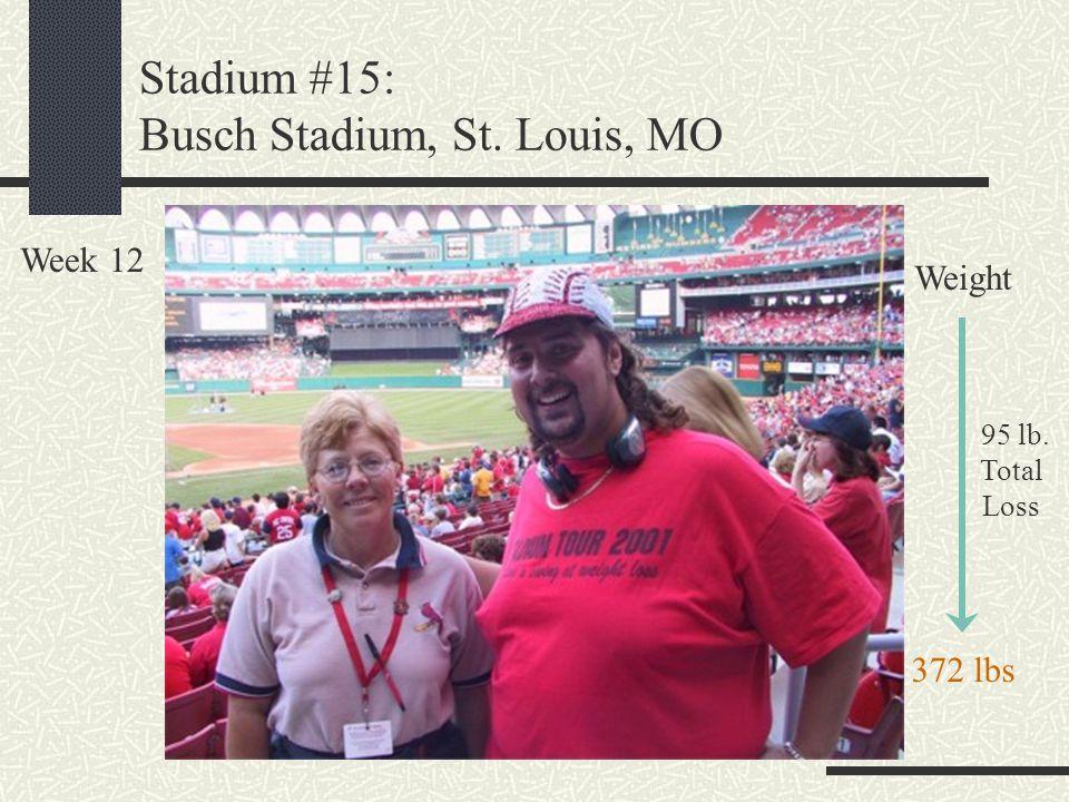 Stadium #15: Busch Stadium, St. Louis, MO Week 12 Weight 95 lb. Total Loss 372 lbs
