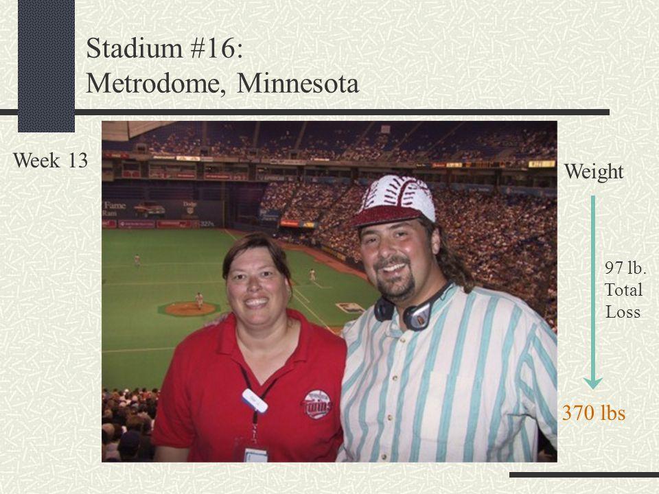 Stadium #16: Metrodome, Minnesota Week 13 Weight 97 lb. Total Loss 370 lbs