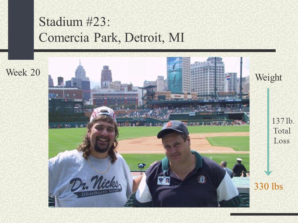 Stadium #23: Comercia Park, Detroit, MI Week 20 Weight 137 lb. Total Loss 330 lbs