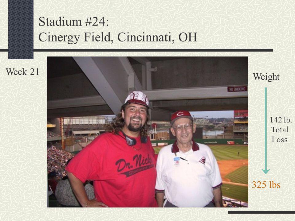 Stadium #24: Cinergy Field, Cincinnati, OH Week 21 Weight 142 lb. Total Loss 325 lbs