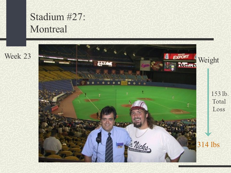 Stadium #27: Montreal Week 23 Weight 153 lb. Total Loss 314 lbs