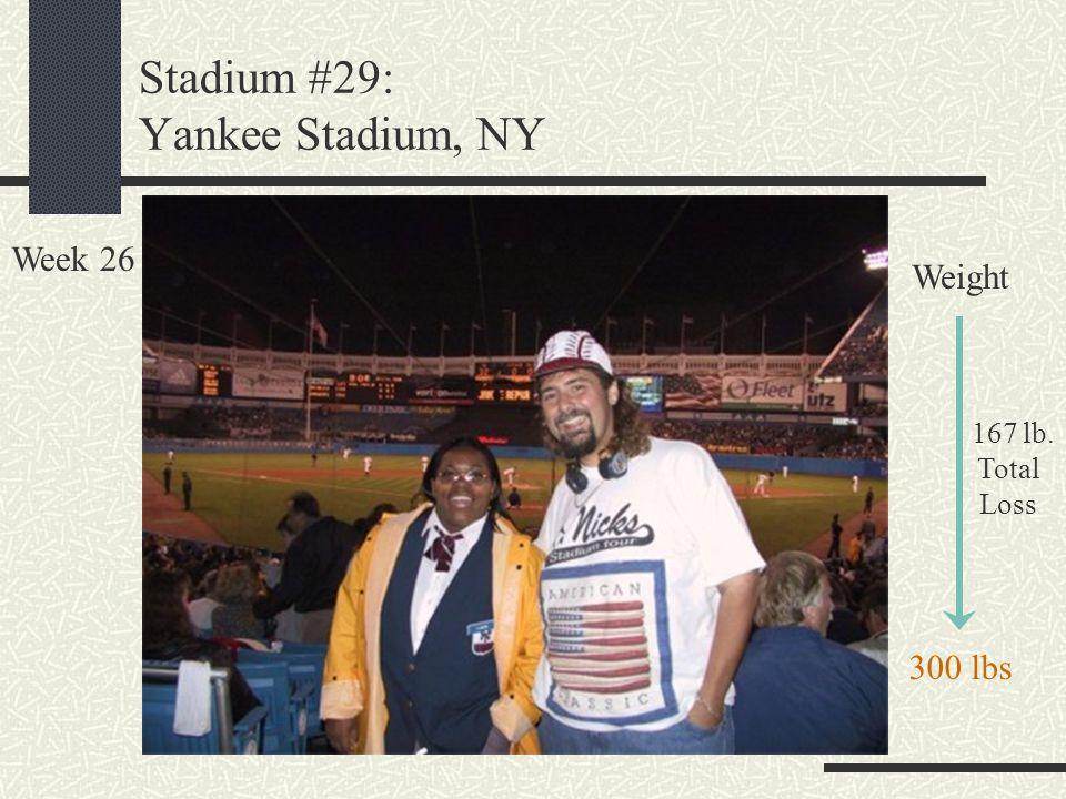 Stadium #29: Yankee Stadium, NY Week 26 Weight 167 lb. Total Loss 300 lbs