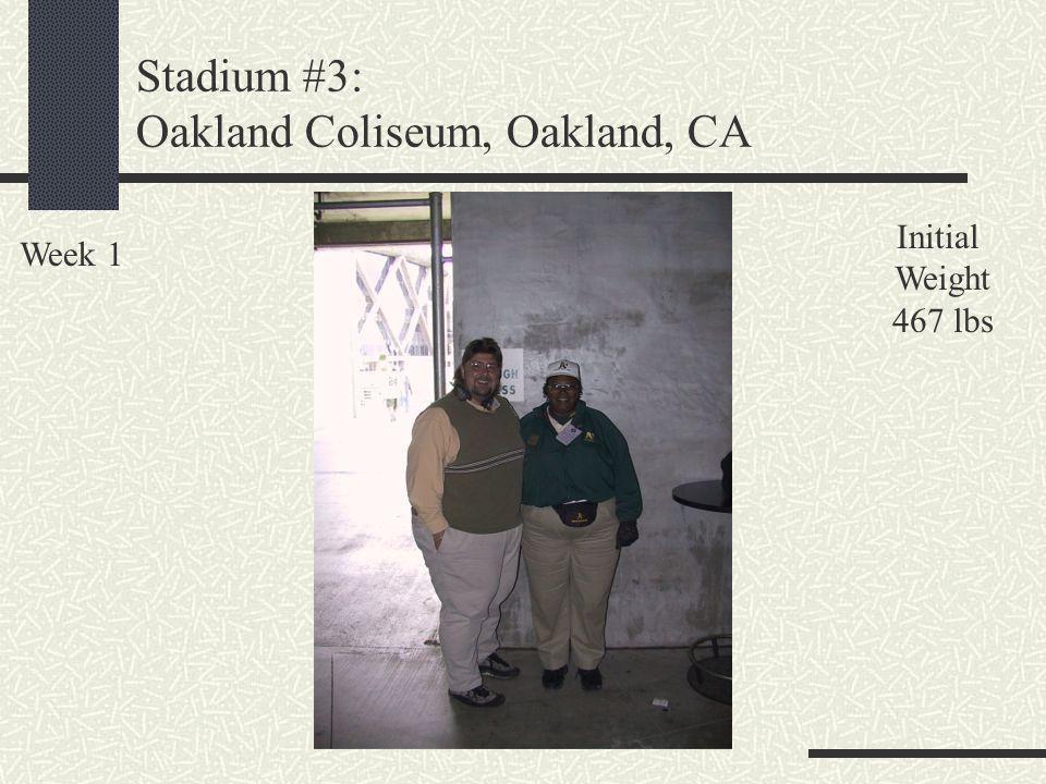 Stadium #3: Oakland Coliseum, Oakland, CA Week 1 Initial Weight 467 lbs