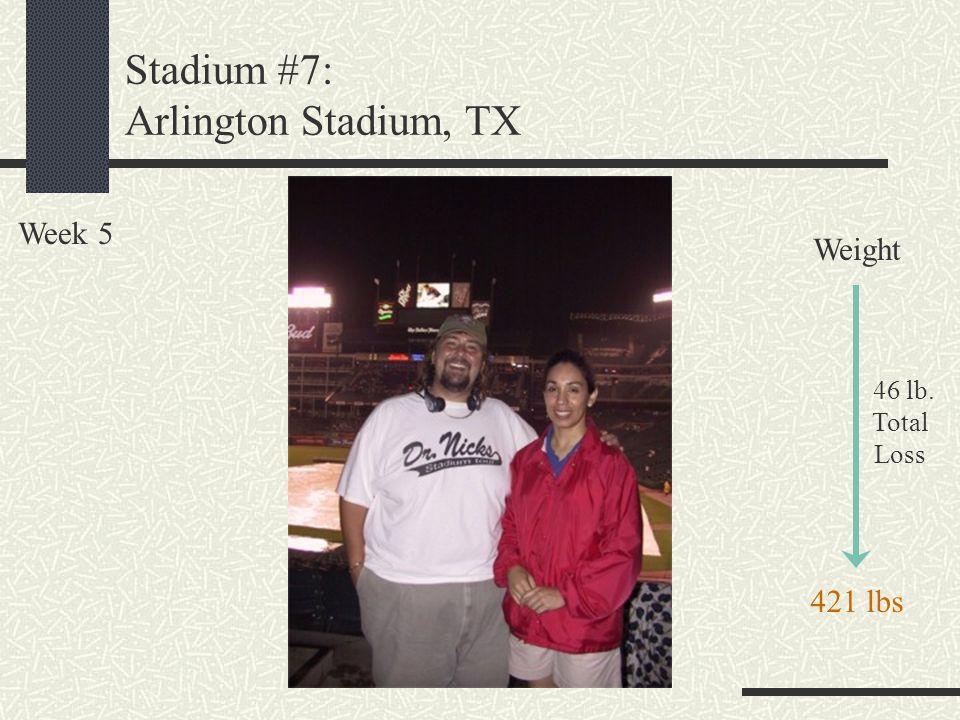 Stadium #7: Arlington Stadium, TX Week 5 Weight 46 lb. Total Loss 421 lbs