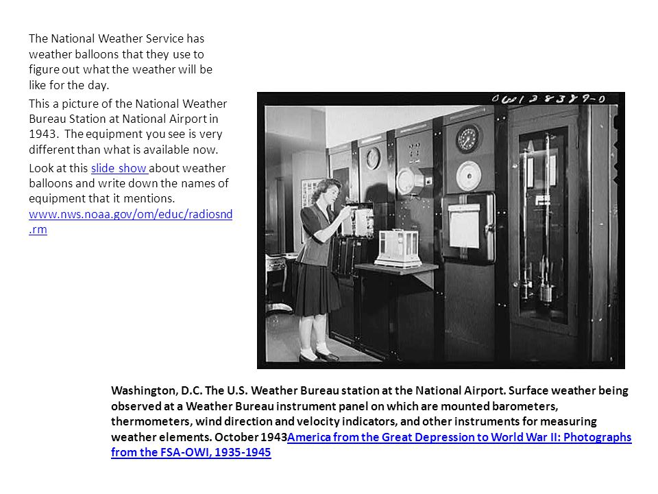 Washington, D.C. The U.S. Weather Bureau station at the National Airport.