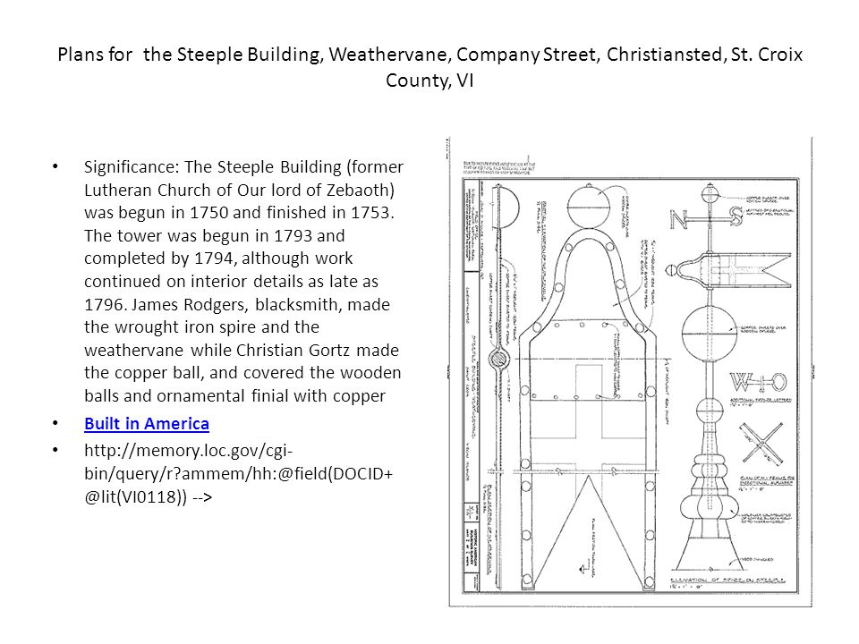 Plans for the Steeple Building, Weathervane, Company Street, Christiansted, St.