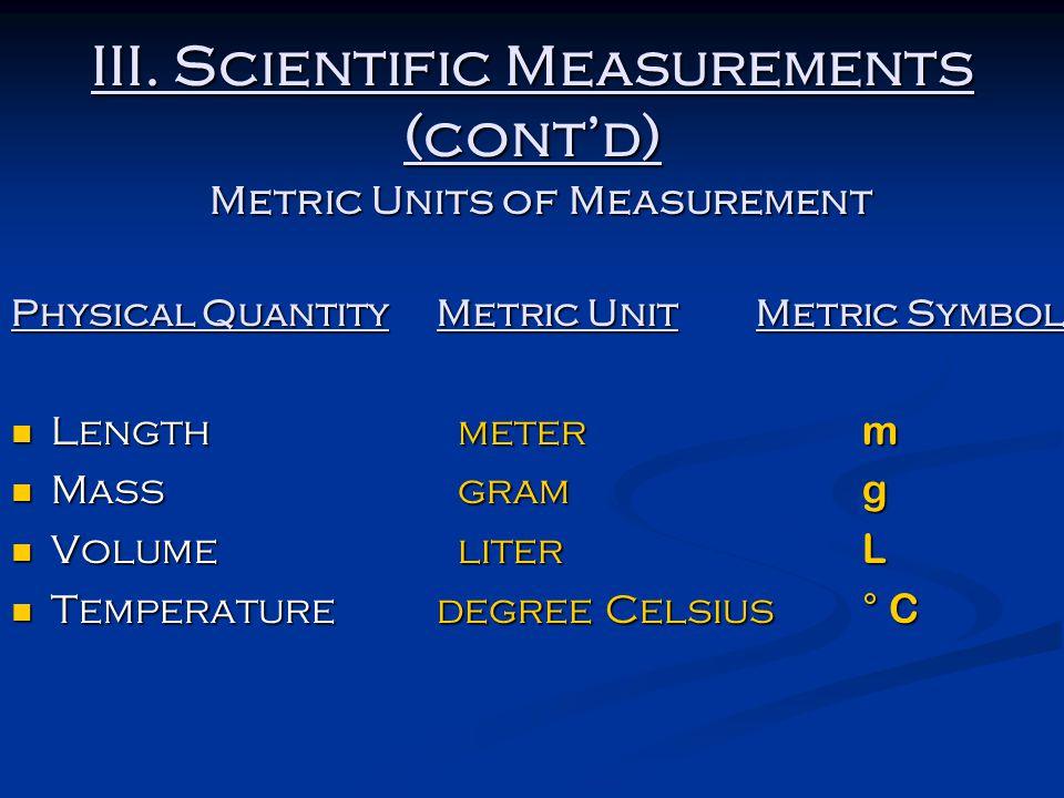 III. Scientific Measurements (cont'd) Metric Units of Measurement Physical QuantityMetric UnitMetric Symbol Length meter m Length meter m Mass gram g