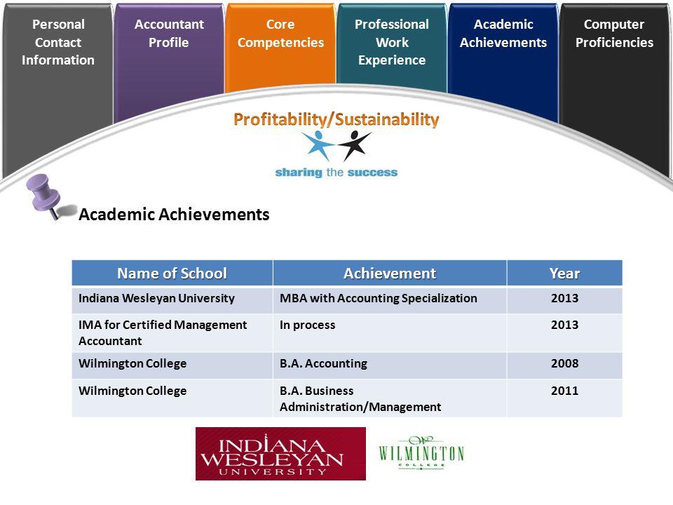 Personal Contact Information Accountant Profile Core Competencies Professional Work Experience Academic Achievements Computer Proficiencies Academic A