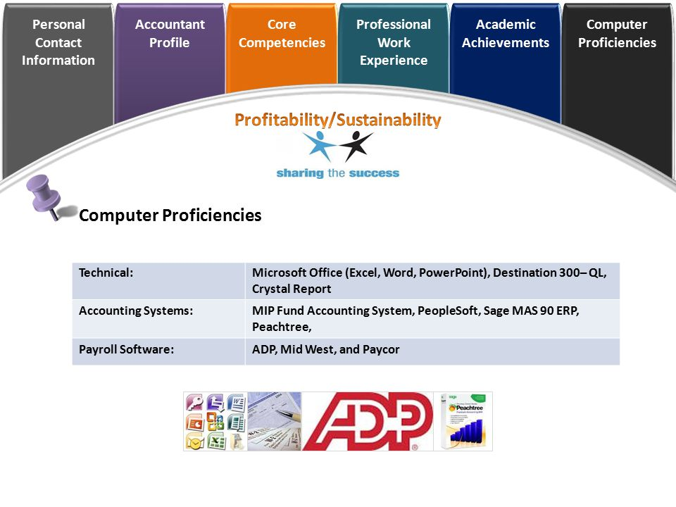 Personal Contact Information Accountant Profile Core Competencies Professional Work Experience Academic Achievements Computer Proficiencies Technical: